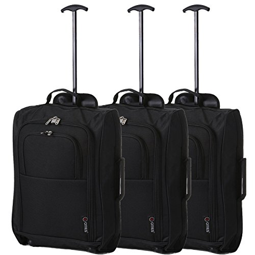 5 città Trolley Cabin Carry, 55 cm, 42 litro, nero, set di 3