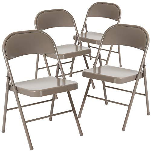 Flash Furniture 4 Pk. HERCULES Series Double Braced Gray Metal Folding Chair