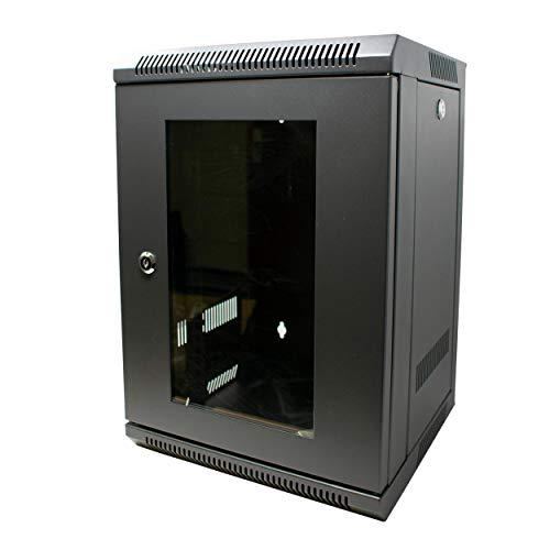 I-CHOOSE LIMITED Gabinete de Pared de 8U para Montaje en Rack de 10' / Puertas Delanteras y Laterales Bloqueables con Vidrio Templado/Stud de Tierra para Usar con PDU