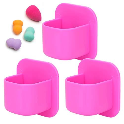 Soporte de esponja de maquillaje de silicona, soporte de soplo de polvo para cepillo, belleza práctica para artículos pequeños, azulejos y vidrio(rose Red)