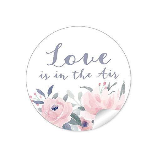 24 STICKER Hochzeit LOVE IS IN THE AIR • BLÜTEN ROSEN BLAU ROSA GRAU • Gastgeschenke Seifenblasen Verpackungen zur Hochzeit Tischdeko Selbstgemachtes u.v.m.• 4cm rund matt