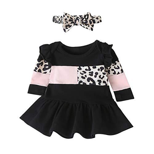 Vestido Bebé Niña Manga Larga Impresión de Leopardo Plisada Vestidos Niñas + Diadema Princesa Ropa Bebe Recien Nacido Niña (Negro, 12-18 Meses)