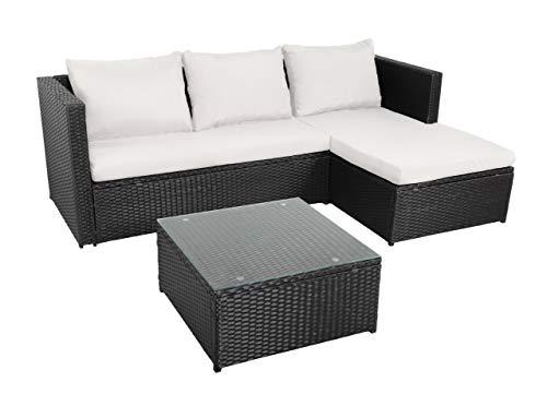 BENEFFITO NAVAGIO - Muebles de jardín en Resina Trenzada 3 plazas - Modular - Sofá de Esquina - Chaise Longue - Mesa de Centro Cuadrada 60x60 cm - Beige Negro