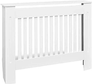 Wakects - Armario calefactor de tapa de radiador de MDF blanco, panel de gabinete de MDF, tamaño externo: 112 x 19 x 81 cm