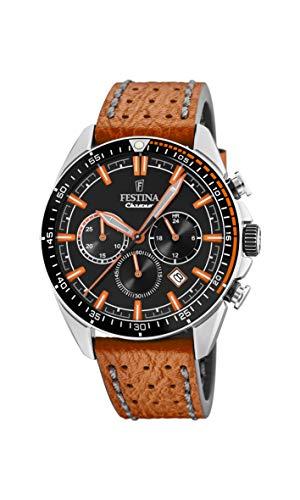 Festina Herren Chronograph Quarz Uhr mit Leder Armband F20377/4