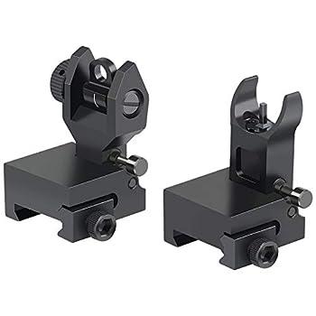 Twod Flip Up Battle Sight Front and Rear Iron Sight Set Dual Aperture BUIS Low Profile Black