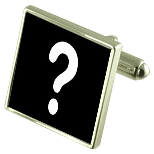 Select Gifts Quiz Master punto interrogativo Sterling Silver gemelli opzionale casella inciso