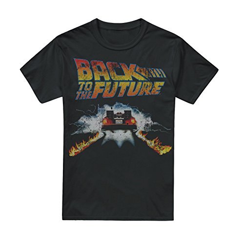 Back to The Future Herren Delorean T-Shirt Gr. XL, Schwarz (Schwarz Schwarz)