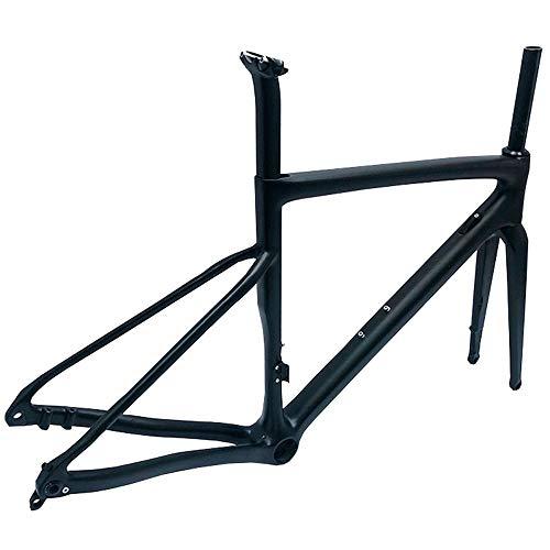 LJHBC Marco de Bicicleta T800 Cuadro de la Bicicleta de Ruta de Fibra de Carbono Eje del Tubo Freno de Disco 700C Cuadro de la Bicicleta Ultraligera Rueda Trasera compatibles con Cierre rápido