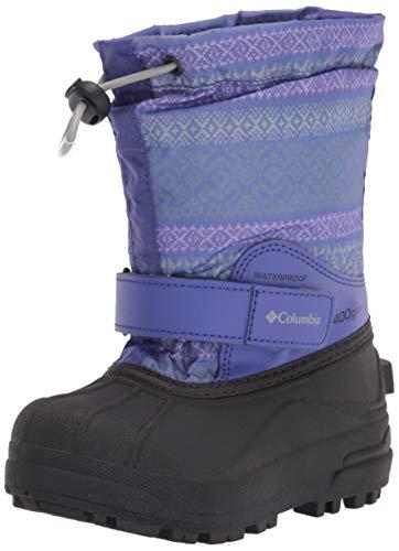 Columbia Powderbug Forty Print Snow Boot, Purple Lotus/Light Thistle, 4 US Unisex Big Kid