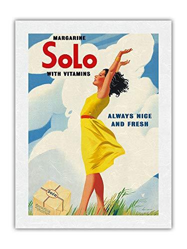 """Solo Margarine - Póster de publicidad vintage con vitaminas (61 x 81 cm), diseño con texto """"Always Nice and Fresh"""