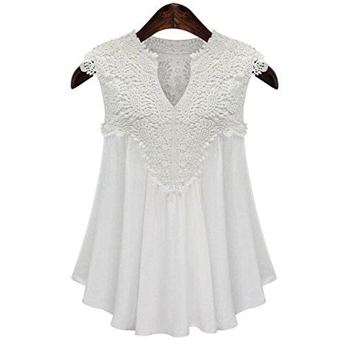 Outstanding® Las mujeres más del tamaño del cordón del V-cuello blusas camisas de la gasa sin mangas Top Blanco