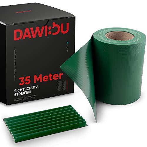 DAWIDU Zaun Sichtschutzstreifen für Doppelstabmatten - 35m x 19cm + 26 Clips - Premium Wind- & Sichtschutz Gartenzaun Grün - Einfache Montage & langlebiger Schutz