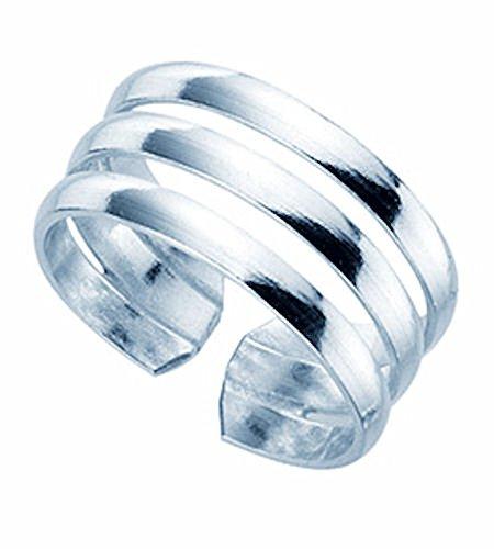 TF Damen Mädchen Zehenring Toe Ring Sterling Silber 925, größenverstellbar, dreifach Geteilte Ringschiene, Breite: 9mm, Juwelierqualität aus Deutschland
