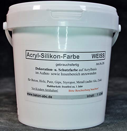 Weiß - Beton Farbe - Acryl Silikon 1 Liter