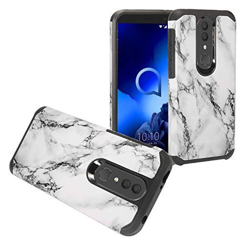 Z-GEN - for Alcatel Onyx 5008R, TCL A1X A503DL - Hybrid Image Phone Case + Tempered Glass Screen Protector - AD1 White Marble