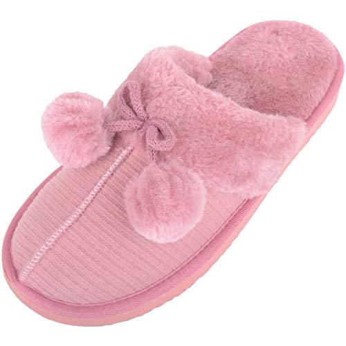 Absolute Footwear Damen Pantoffeln mit Kunstfell und Bommel, Pink - rose - Größe: 39 EU