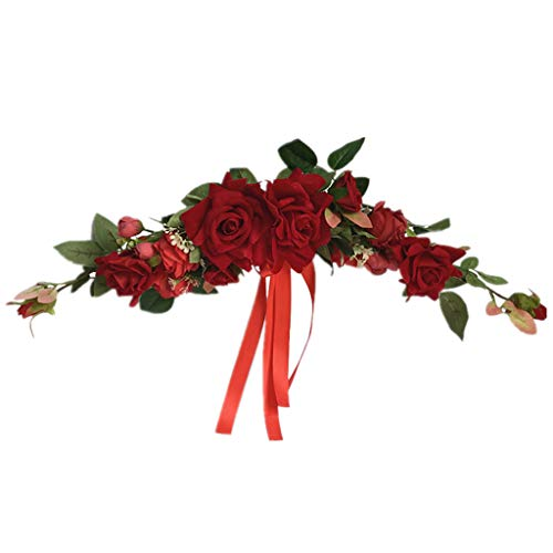 WT-DDJJK Künstliche Rose Flower Swag, Swag mit gefälschten Rosen, grünen Blättern & Seidenband für Home Wedding Arch Haustür