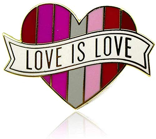 Lesbian Pride Heart Rainbow Flag Lapel Pin - LGBTQ Pins - 'Love is Love' - Enamel Pin Decoration - Perfect For Pride Festivals