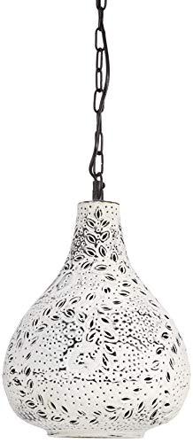 Relaxdays Lampadario da/per Soffitto in Bianco, con Patina, Stile Orientale/Industriale, Look Shabby Chic, con Foglie, Piante H X D: 137.5 X 24 cm, con Catena in Metallo, lampadario da soffitto, ferro