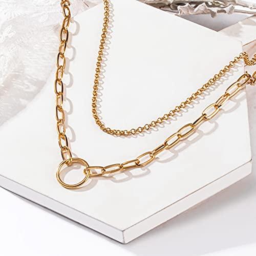 KONZFP Collar Cadena en Capas en el Cuello, Collar, Cadenas para Mujer, Colgantes Vintage, aro gótico Dorado, Collar de Metal, Gargantilla, joyería