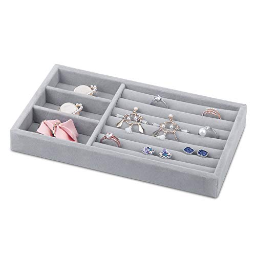 Jolicobo Samt Klein Schmuckkasten Ring Schachtel für Ohrringe schublade Schmuckbox Geschenkbox für Verlobungsring Schmuckschatullen (Grau)