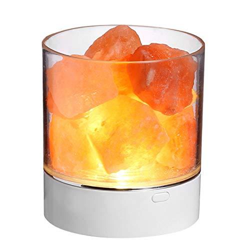 Lámpara De Sal De Cristal del Himalaya Natural Puro, Disponible En 7 Colores Lámpara De Sal De Regalo De Iones Negativos Naturales Luz De Noche De Mesita De Noche USB