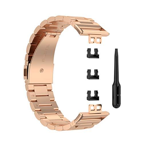 KOMI Correas compatibles con Huawei Watch Fit TIA-B09/TIA-B19, acero inoxidable, correas de repuesto para hombres y mujeres (rosa)