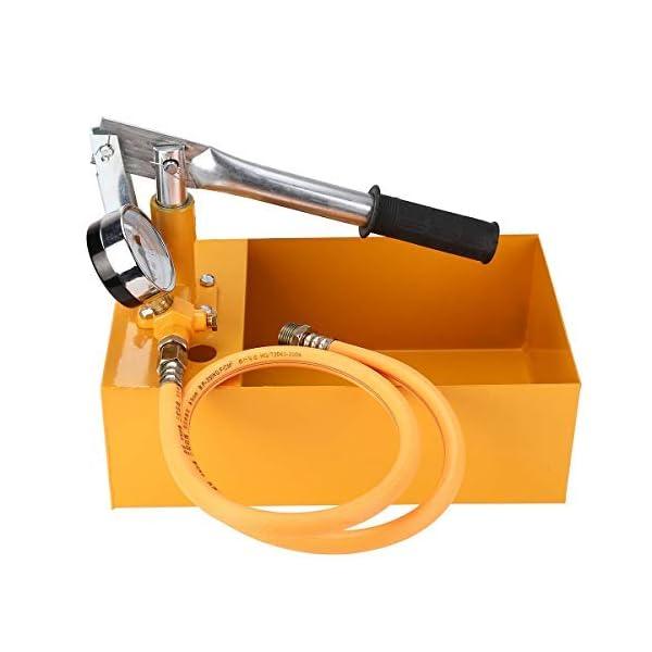 KKmoon Probador de presión de agua 2,5 MPa 25 kg máquina de bomba de prueba hidráulica manual con manguera G1/2 pulgadas
