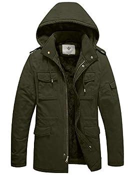 WenVen Men s Windbreaker Military Jacket Hooded Thicken Coat Army Green L