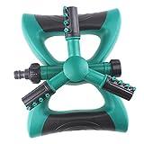 No logo HXIANG 360-Grad-Kreis drehende Wassersprenkler Garten Sprinkler Automatische Bewässerung Rasen mit 3 Düsen DREI Arme Rohr Schlauch (Farbe : Grün)