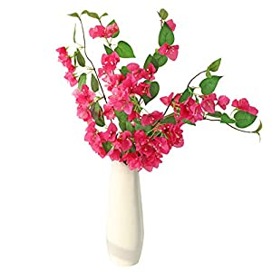 LSME 31 Inch Artificial Bougainvillea Flower Silk Bouquet Red with Long Stem for Wedding Centerpieces Floor Vase Decoration 5 Pcs