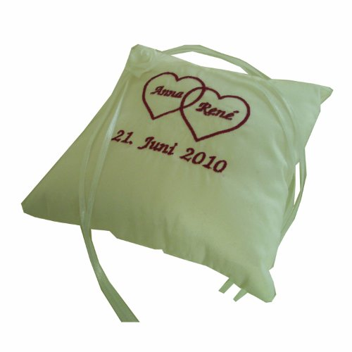 Ringkissen-Shop Ringkissen bestickt - Seide - Stick - individuell in verschiedenen Farben | Handarbeit 17x17cm Kissen: weiss, Stickfarbe: pink