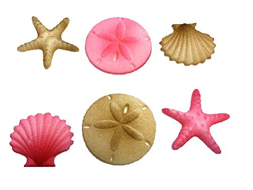 12pk Beach Side Sand Water Sea Creatures Sea Shells Star Fish (Pink) Ready To Use Cake Cupcake Sugar Decoration Toppers