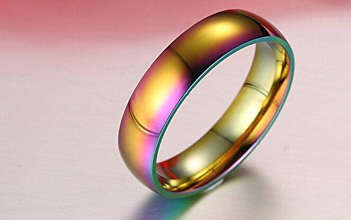 GAMT Unique Titanium Steel Rainbow Color Ring For Men Women Women Jewelry Size 8