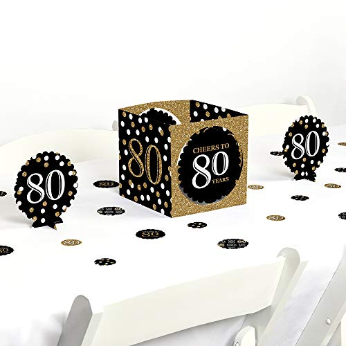 Big Dot of Happiness Adult 80th Birthday - Gold - Birthday Party Centerpiece & Table Decoration Kit
