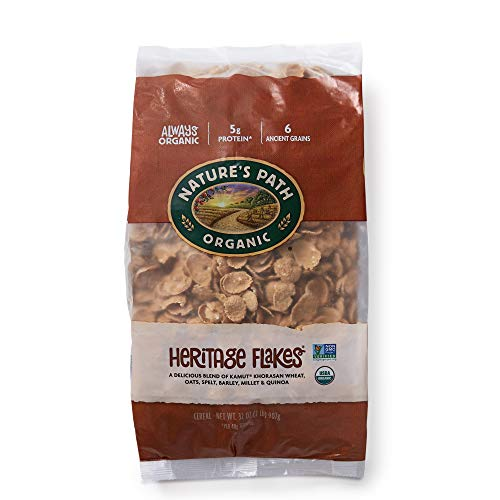 Nature's Path Organic Heritage Flakes Cereal, 2 Lbs. Earth Friendly Package (Pack of 6), Non-GMO, 6 Ancient Grains, Low Sugar, High Fiber, 5g Plant Based Protein