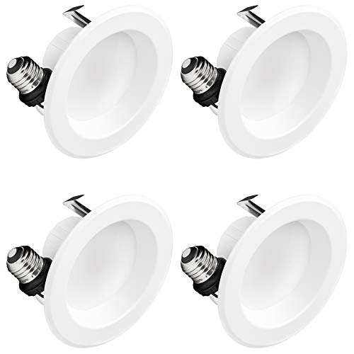 Hyperikon 4 Inch LED Recessed Lighting, 9W (65 Watt Replacement), Dimmable Downlight, 4000K Daylight, 4 Pack