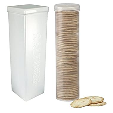 Home-X Set of 2 - Saltine Cracker Sleeve Storage Container / Cookie Stay Fresh Keeper, 1 Round and 1 Square