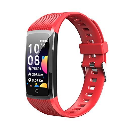 YZL Sport Horloge Waterdichte Kleur Scherm Fitness Smart Horloge Met Hartslagmeter Slaapmonitor Stappenteller, Sluit Mobiele Telefoon Bluetooth om Belangrijke informatie te bekijken op Elk Tijd, voor Mannen/Vrouwen, size, Rood
