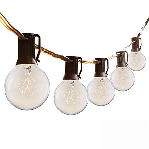Outdoor Lights Mains Powered, 50FT Outside Festoon Gazebo String Lights, G40 Garden Lighting, Patio Fairy Lights 50 Bulbs with 5 Spares