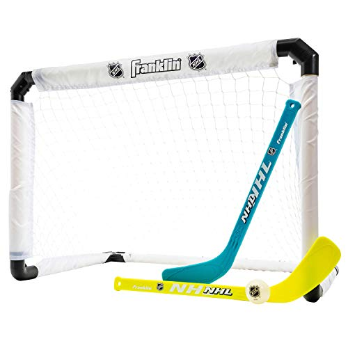 Franklin Sports Knie-Hockey-Set – beinhaltet 1 beleuchtetes Hockey-Tor – 2 Mini-Hockeyschläger und 1 beleuchteter Ball – NHL – leuchtet im Dunkeln – ideal für Kinder