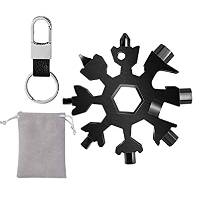 Osgow 18 in 1 Snowflake Multitool with Keychain, Stainless Steel Snowflake Multi Tool Wrench, Great Christmas Gifts for Mens, Bottle Opener/flat Phillips Screwdriver Kit