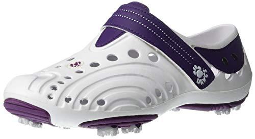 DAWGS Women's Golf Spirit Walking Shoe,White/Plum,5 M US
