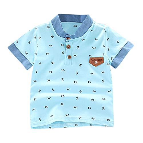 K-youth de 0 a 5 años Ropa Bebe Niño Recien Nacido Verano Patrón de Carta Camiseta Manga Corta Bebe Blusa de Niños Ropa para Niña Primavera Chandal Bebes Niñas Tops 2019 Rebajas (Azul Claro, 4-5 años)