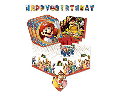 gemma international IRPot - Kit N13 Compleanno Bambino Super Mario Bros con Ghirlanda
