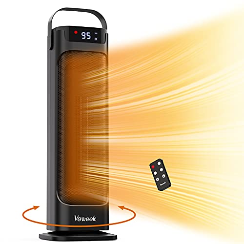 Voweek Electric Space Heaters Ceramic Tower Heater with Remote Control, Thermostat, Built-in Timer and Oscillation, Tip-over & Overheat Protection, 1500W Portable Heater for Bedroom Indoor Home Office