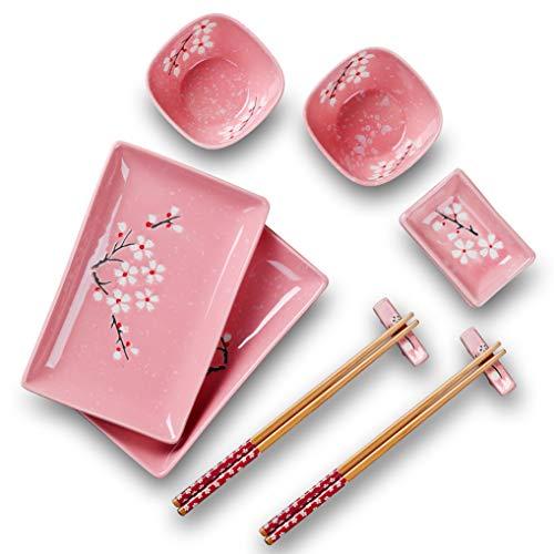 Panbado Porzellan Japanisch Sushi 10-teilig Service Geschirrset, Rechteckig Sushi Teller mit Reisschalen, Dipschälchen, Bambus Essstäbchen und Essstäbchen Ablage für 2 Personen, Sakura Muster, Rosa