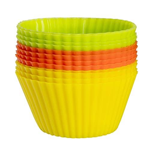 PROGARMENTS Wiederverwendbare Muffinform aus Hochwertigem Silikon, Standard Silikonformen für Muffins 3 Farben Muffinförmchen aus Silikon BPA-freiem Silikon 12er-Set