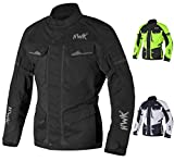 Adventure/Touring Motorcycle Jacket For Men Textile Motorbike CE Armored Waterproof Jackets ADV 4-Season (Black, Large)
